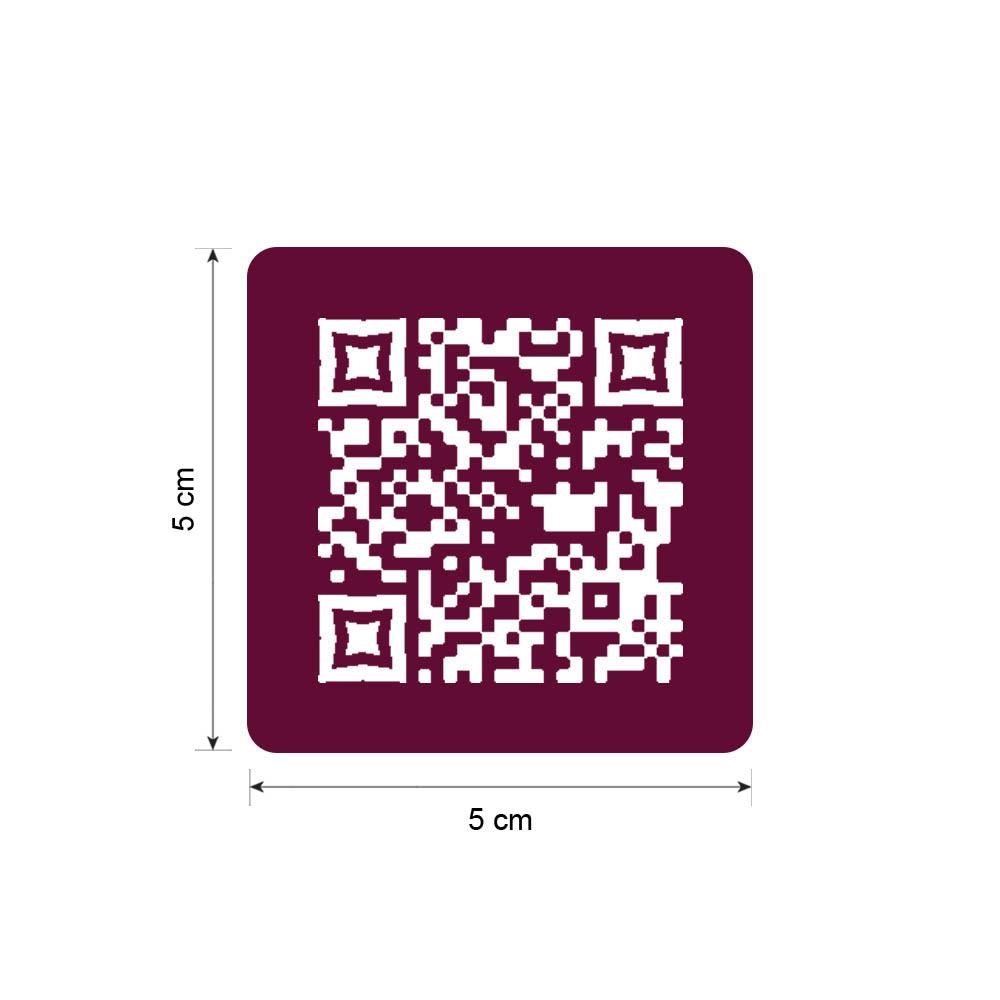 Menu sans contact pictogramme carré QR Code pour présentation menu hôtel restaurant - Couleur bordeaux