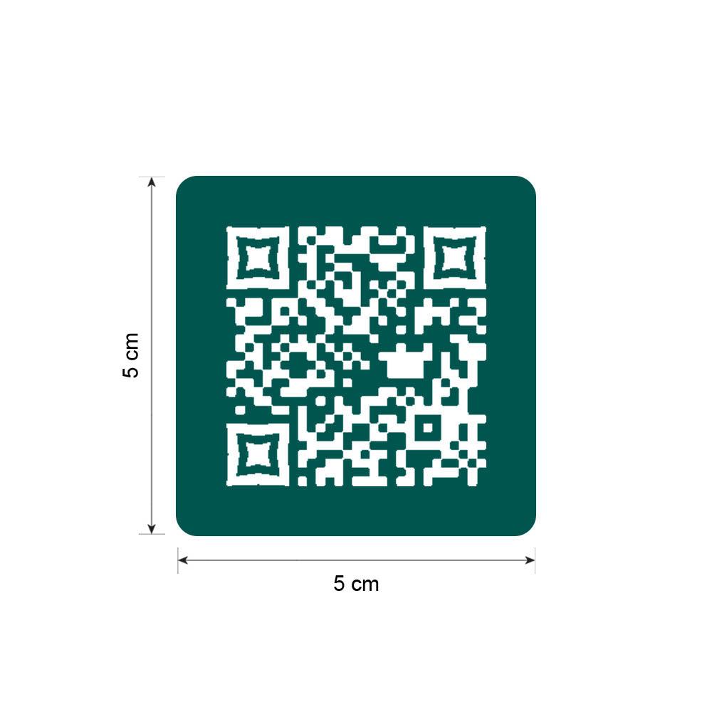 Menu sans contact pictogramme carré QR Code pour présentation menu hôtel restaurant - Couleur vert foncé