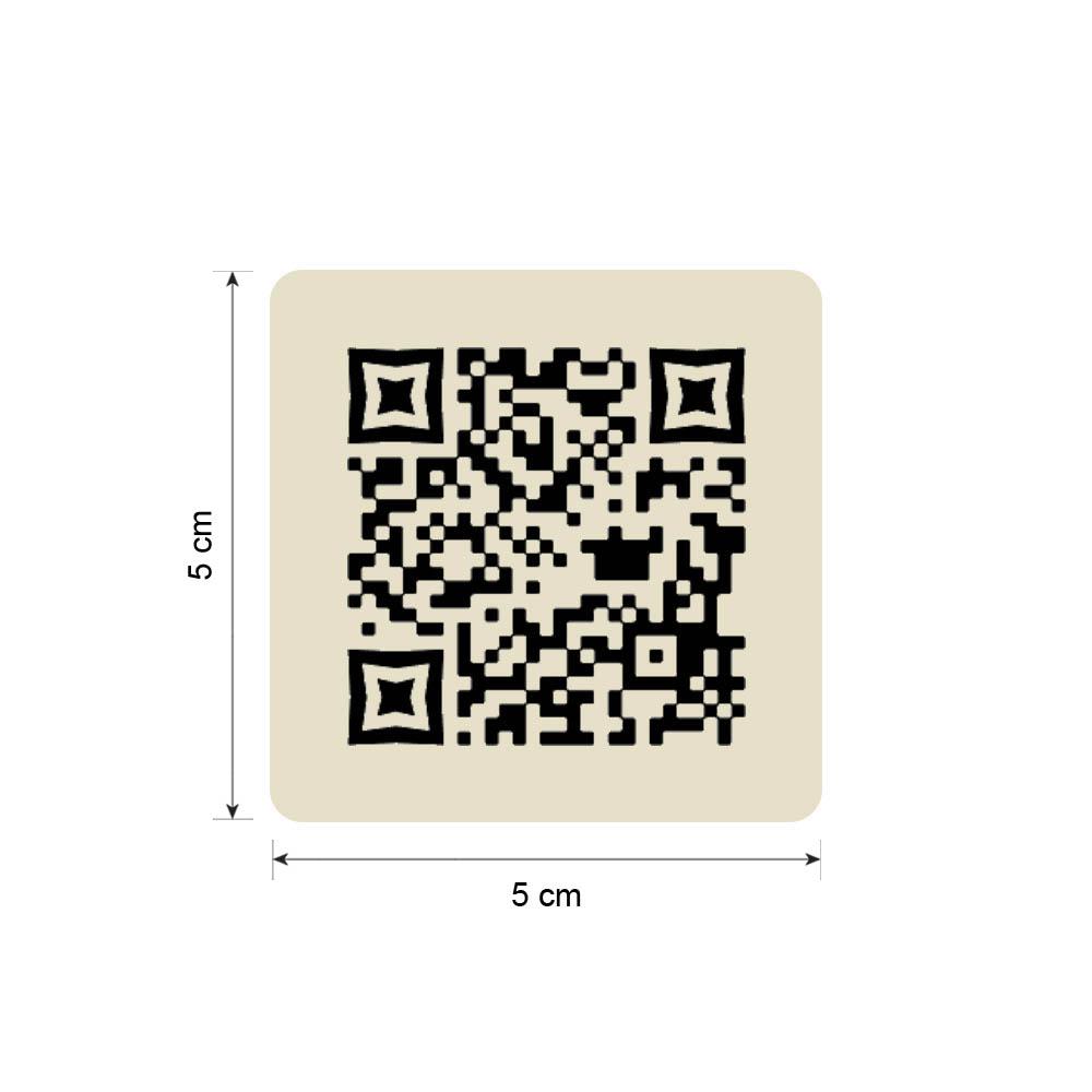 Menu sans contact pictogramme carré QR Code pour présentation menu hôtel restaurant - Couleur beige
