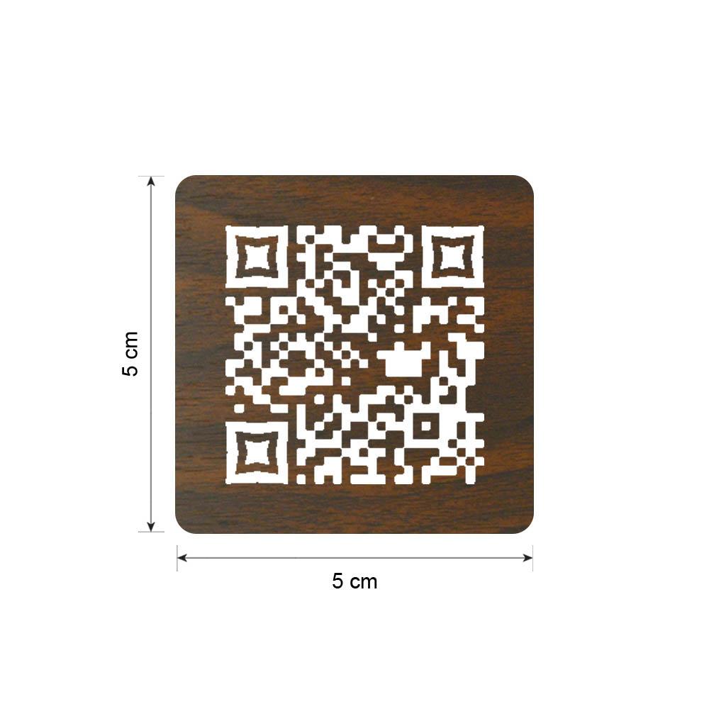 Menu sans contact pictogramme carré QR Code pour présentation menu hôtel restaurant - Couleur effet bois foncé