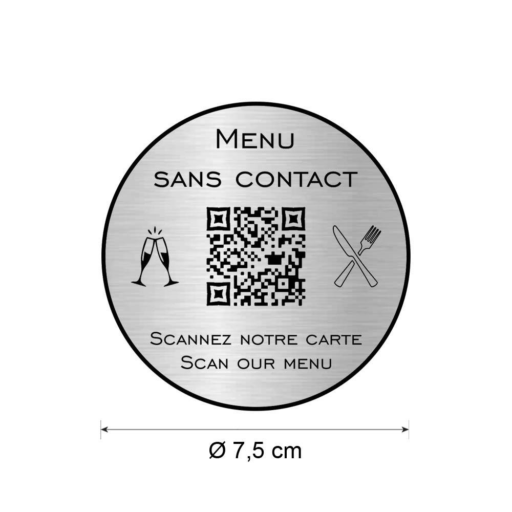 Menu sans contact personnalisé format rond QR Code - Présentation menu hôtel restaurant - Couleur argent brossé