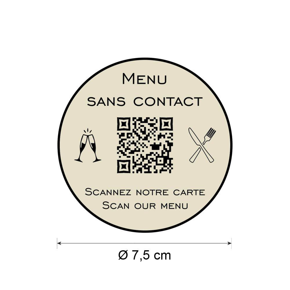 Menu sans contact personnalisé format rond QR Code - Présentation menu hôtel restaurant sans contact - Couleur beige