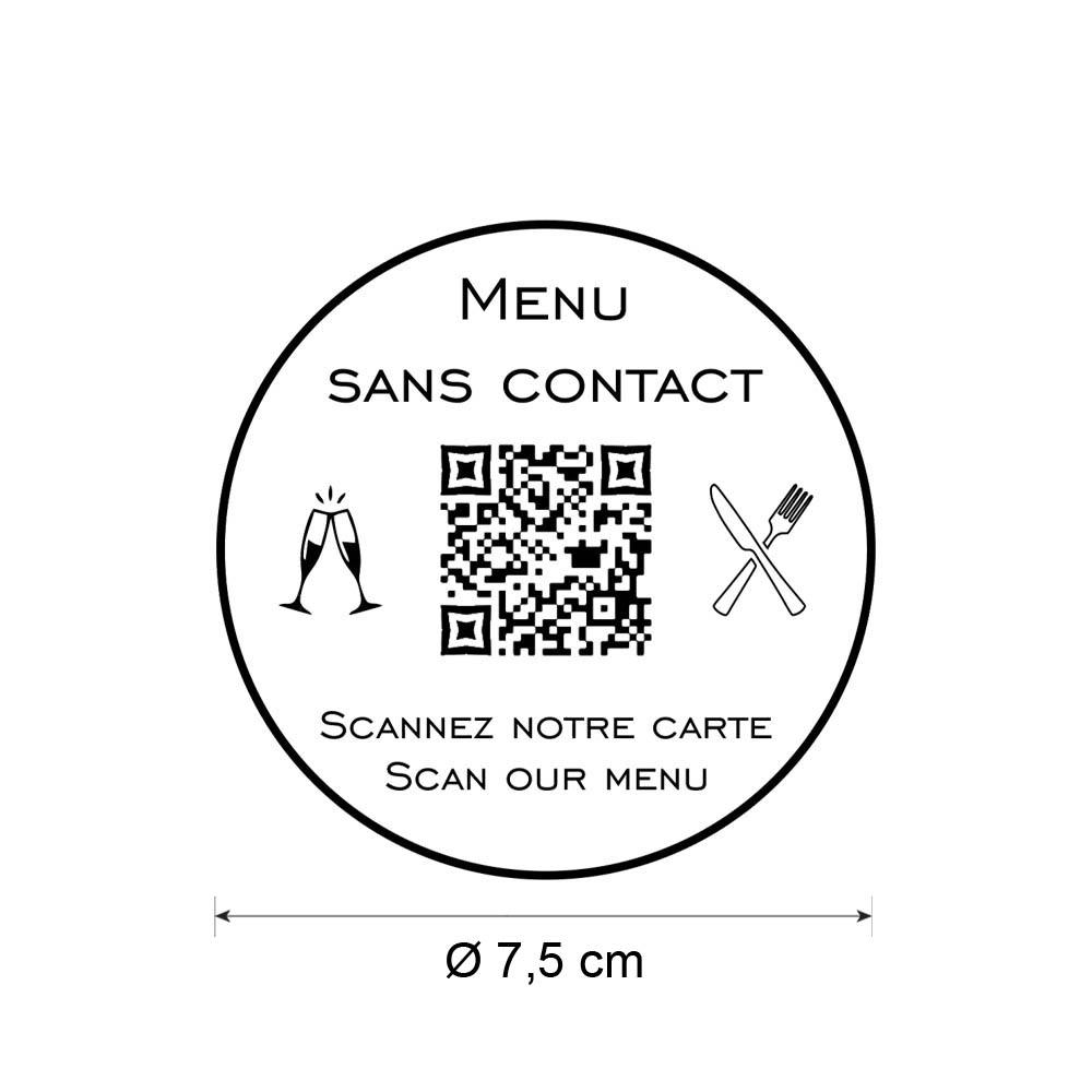 Menu sans contact personnalisé format rond QR Code - Présentation menu hôtel restaurant sans contact - Couleur blanc