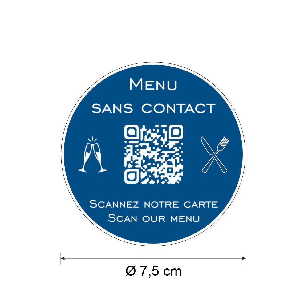 Menu sans contact personnalisé format rond QR Code - Présentation menu hôtel restaurant sans contact - Couleur bleu
