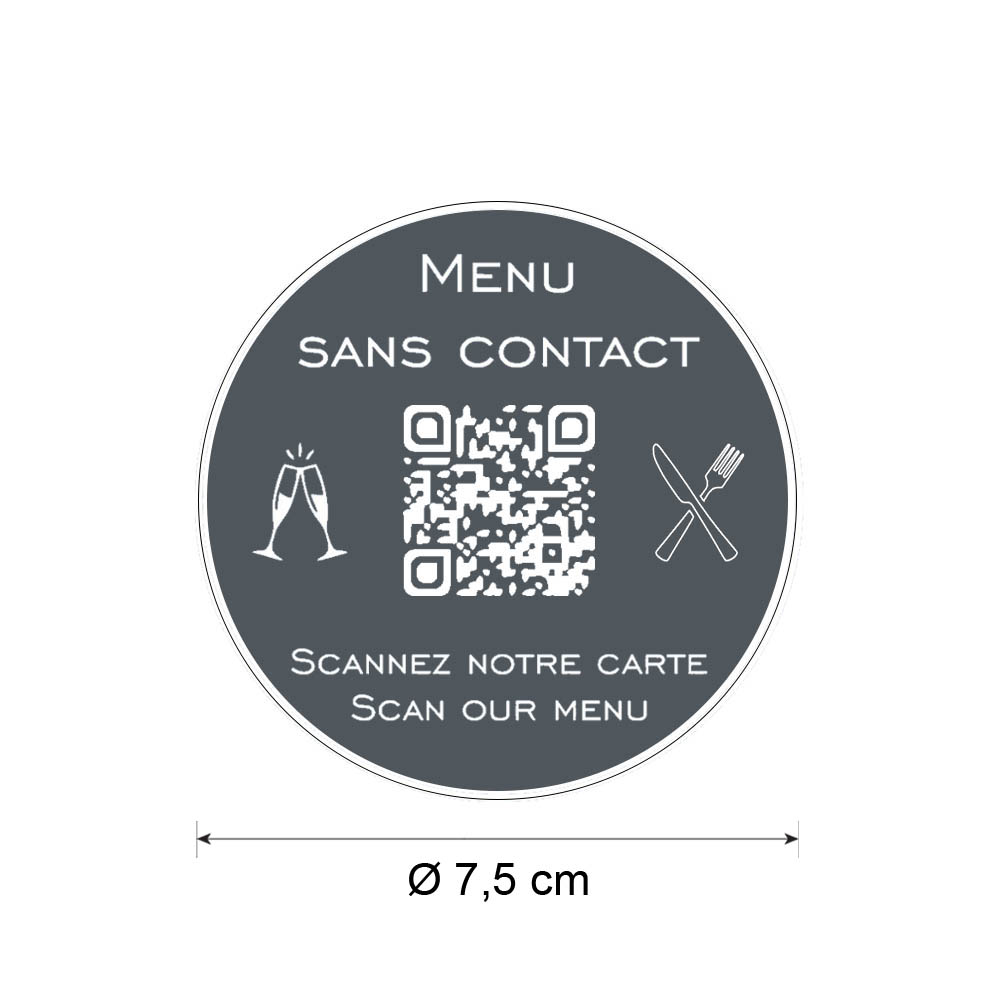 Menu sans contact personnalisé format rond QR Code - Présentation menu hôtel restaurant sans contact - Couleur gris