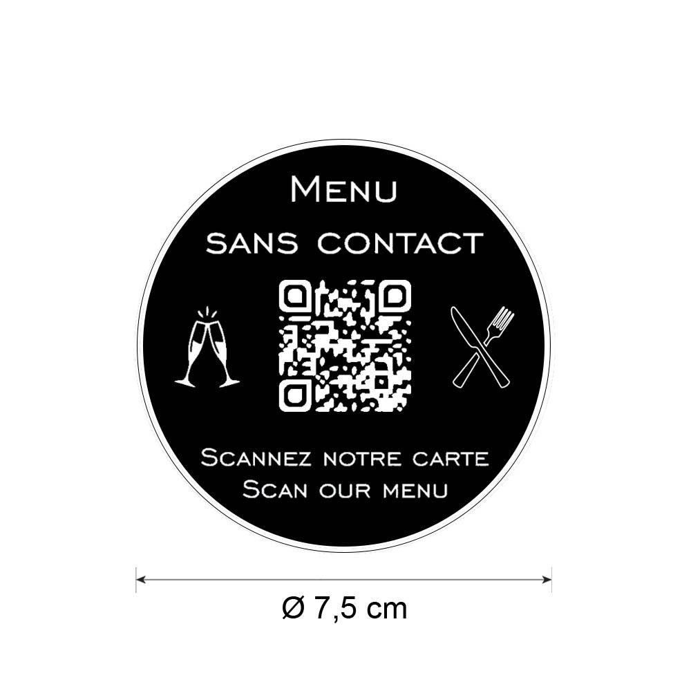 Menu sans contact personnalisé format rond QR Code - Présentation menu hôtel restaurant sans contact - Couleur noir