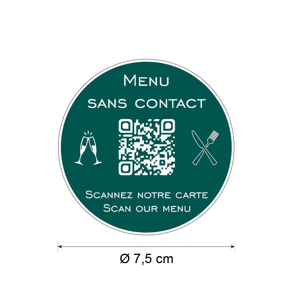 Menu sans contact personnalisé format rond QR Code - Présentation menu hôtel restaurant sans contact - Couleur vert foncé