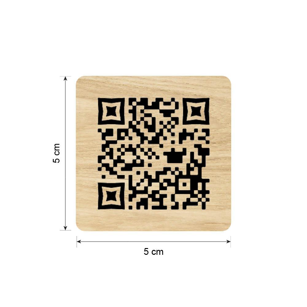 Menu sans contact pictogramme carré QR Code pour présentation menu hôtel restaurant - Couleur effet bois clair