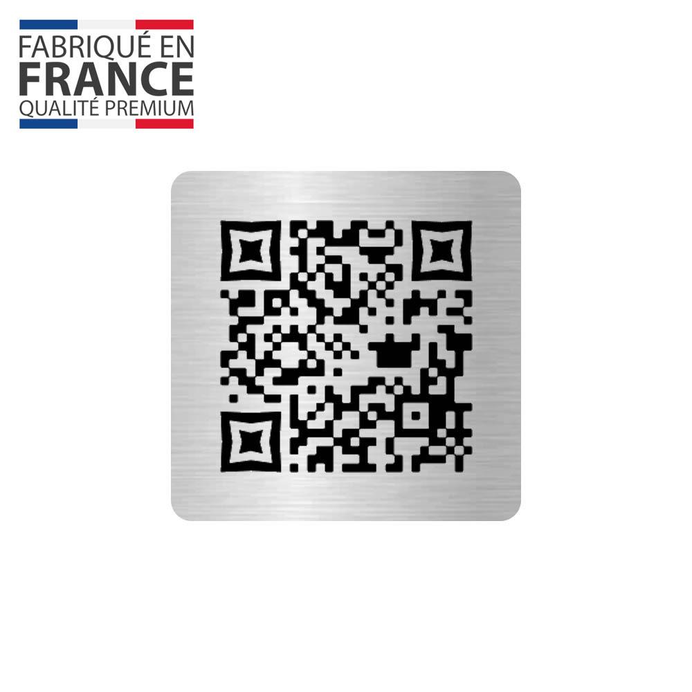 Menu sans contact pictogramme carré QR Code pour présentation menu hôtel restaurant - Couleur argent brossé