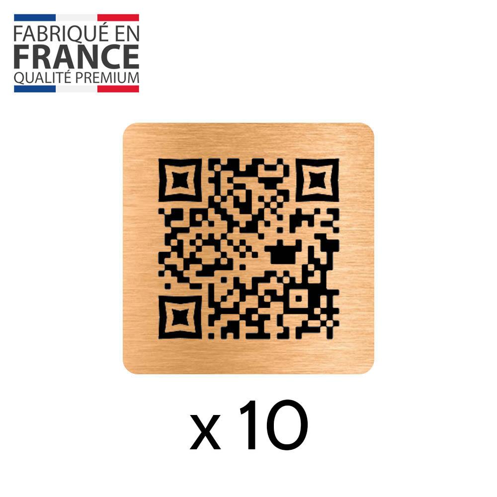 Menu sans contact pictogramme carré QR Code pour présentation menu hôtel restaurant - Couleur cuivre brossé