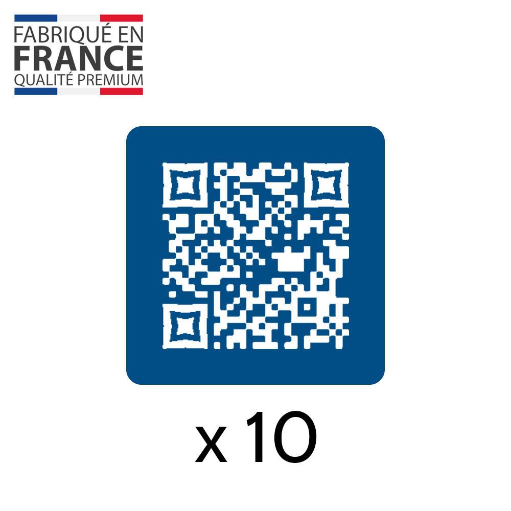 Menu sans contact pictogramme carré QR Code pour présentation menu hôtel restaurant - Couleur bleu