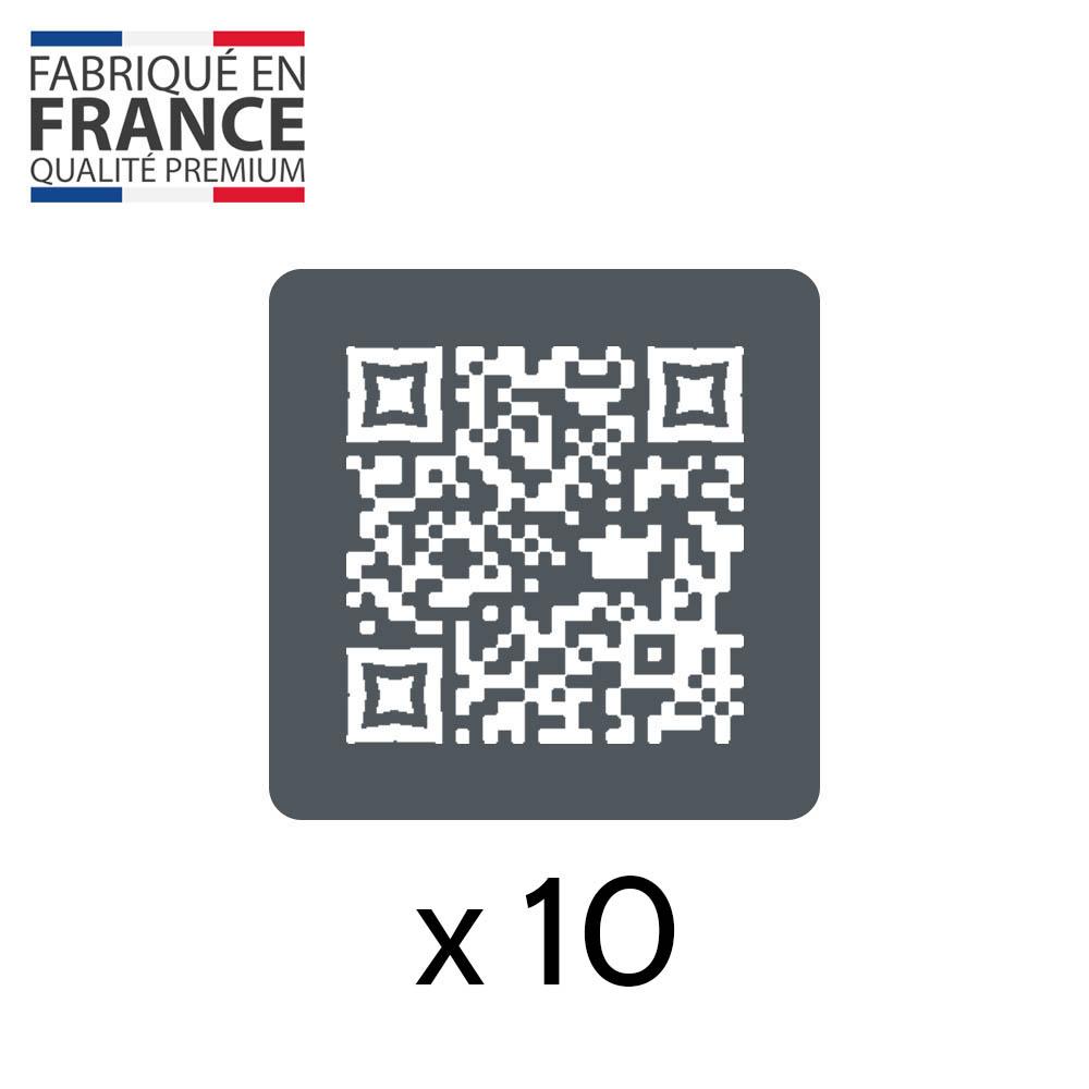 Menu sans contact pictogramme carré QR Code pour présentation menu hôtel restaurant - Couleur gris