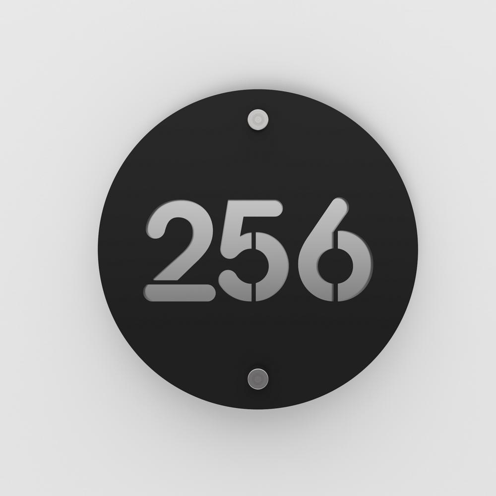 Numéro de rue / maison noir mat avec fond personnalisable - Modèle Round - Numéro rond diamètre 20 cm