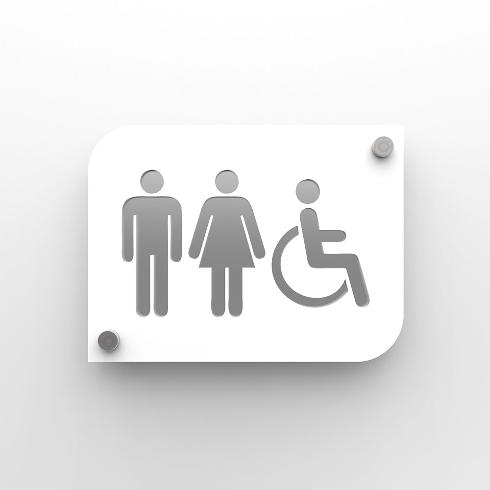 Pictogramme plexi toilettes trio hommes/femmes handicapés PMR - Signalétique toilettes