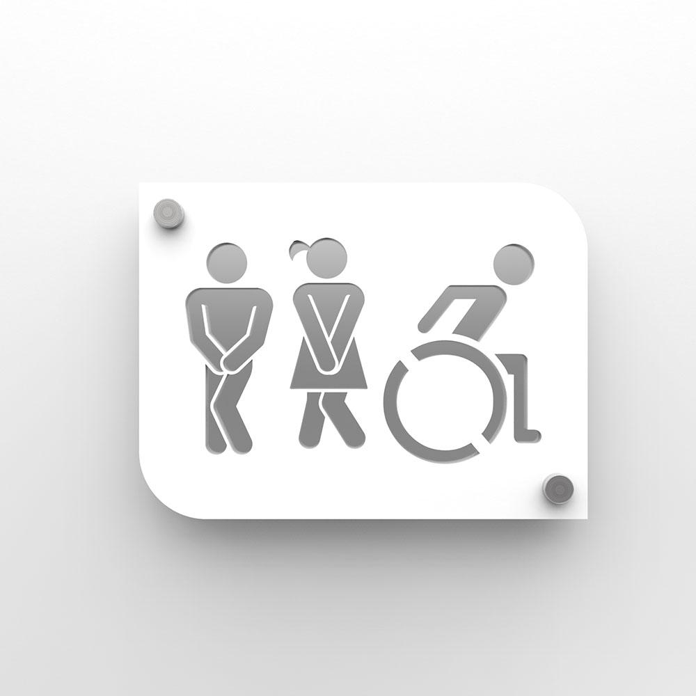 Plaque de porte design toilettes trio hommes / femmes / handicapés PMR - Pictogramme WC homme / femme / PMR