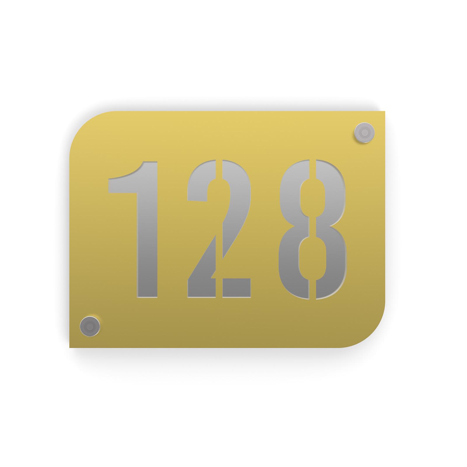Plaque numéro de rue / maison couleur or design avec fond personnalisable - Modèle URBAN