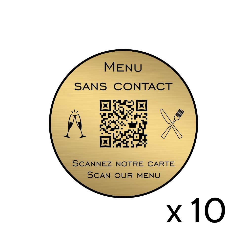 Menu sans contact personnalisé format rond QR Code - Présentation menu hôtel restaurant sans contact - Couleur or brossé