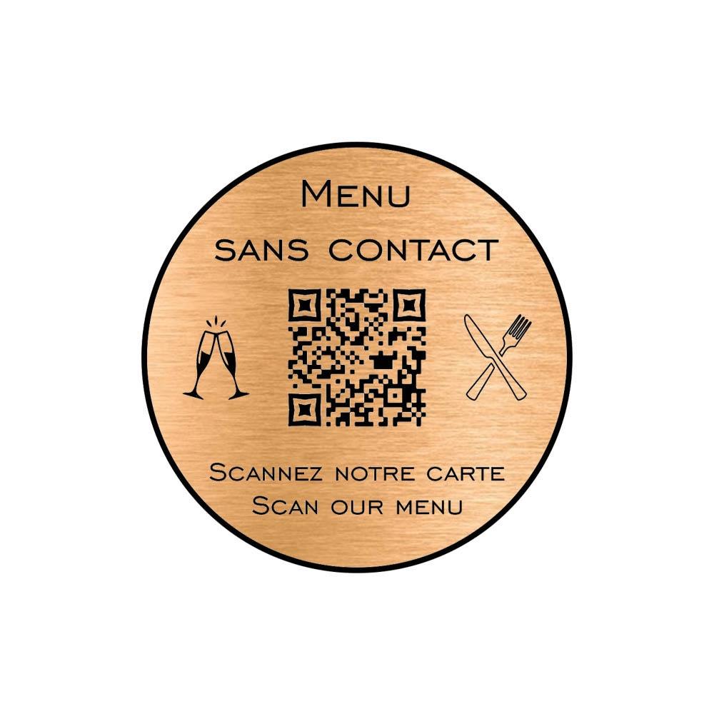 Menu sans contact personnalisé format rond QR Code - Présentation menu hôtel restaurant sans contact - Couleur cuivre brossé