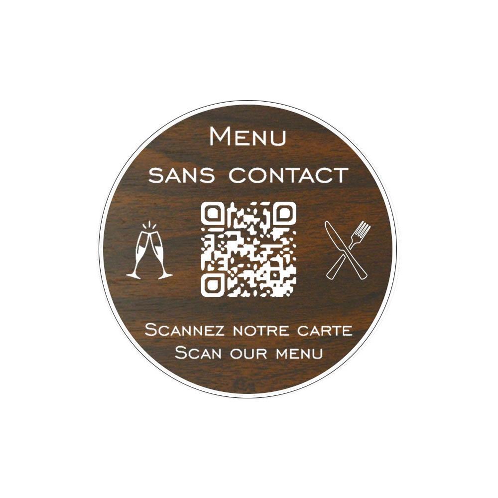 Menu sans contact personnalisé format rond QR Code - Présentation menu hôtel restaurant sans contact - Couleur effet bois foncé