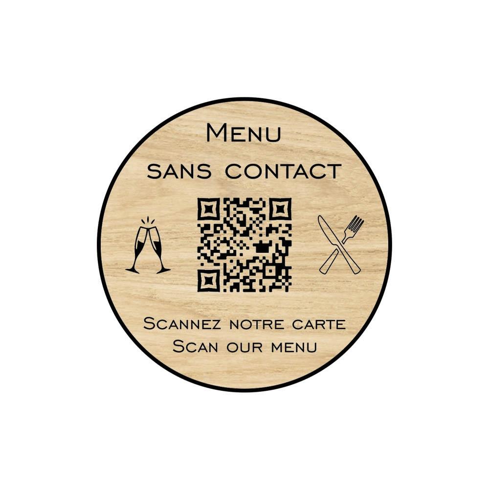 Menu sans contact personnalisé format rond QR Code - Présentation menu hôtel restaurant sans contact - Couleur effet bois clair