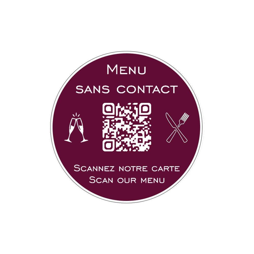 Menu sans contact personnalisé format rond QR Code - Présentation menu hôtel restaurant sans contact - Couleur bordeaux