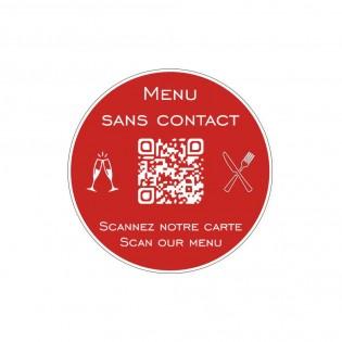 Menu sans contact personnalisé format rond QR Code - Présentation menu hôtel restaurant sans contact - Couleur rouge