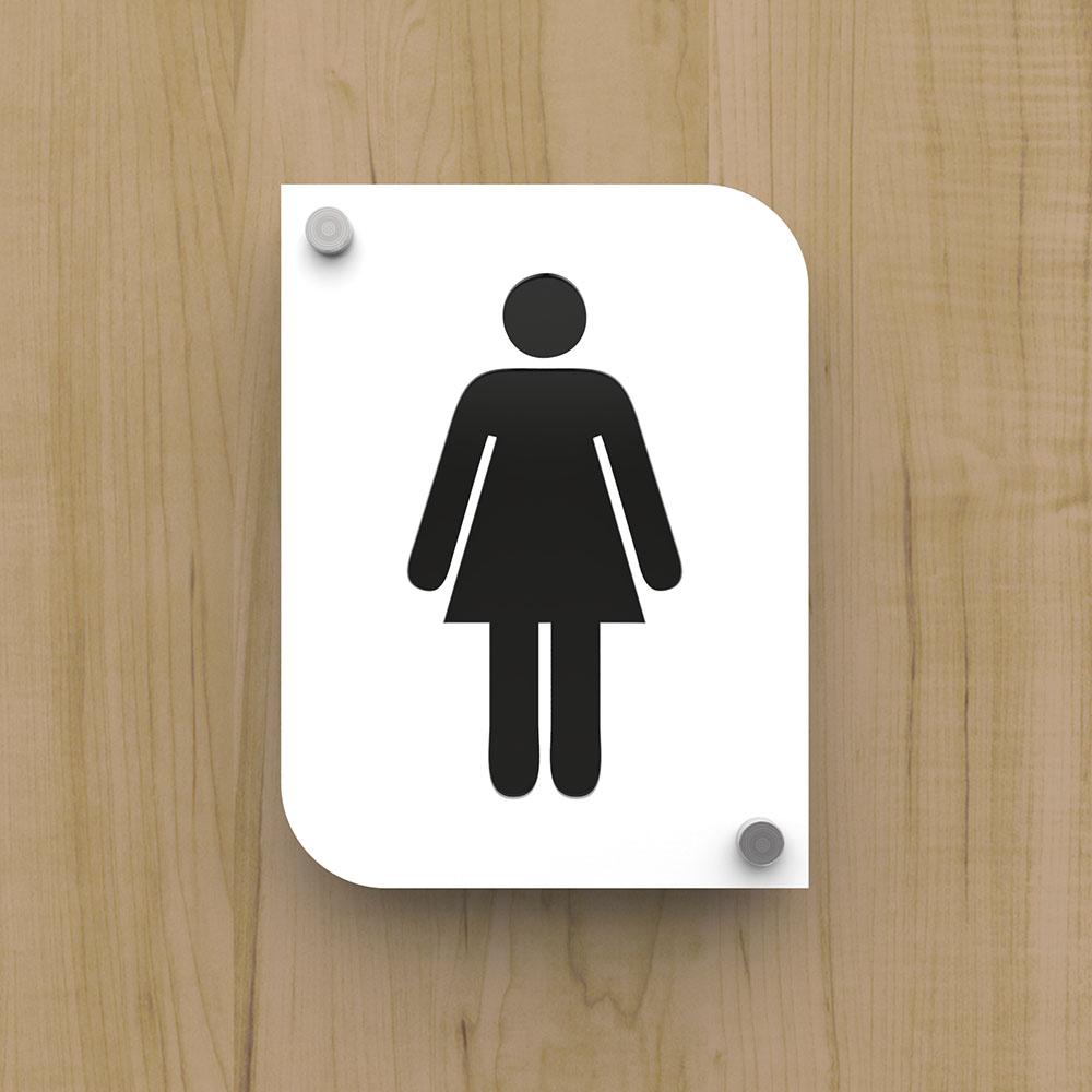 Pictogramme plexi toilettes femmes couleur blanc - Signalétique plaque de porte toilettes PMR