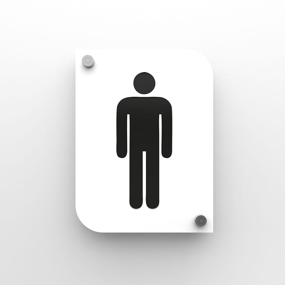 Pictogramme plexi toilettes hommes couleur blanc - Signalétique plaque de porte toilettes