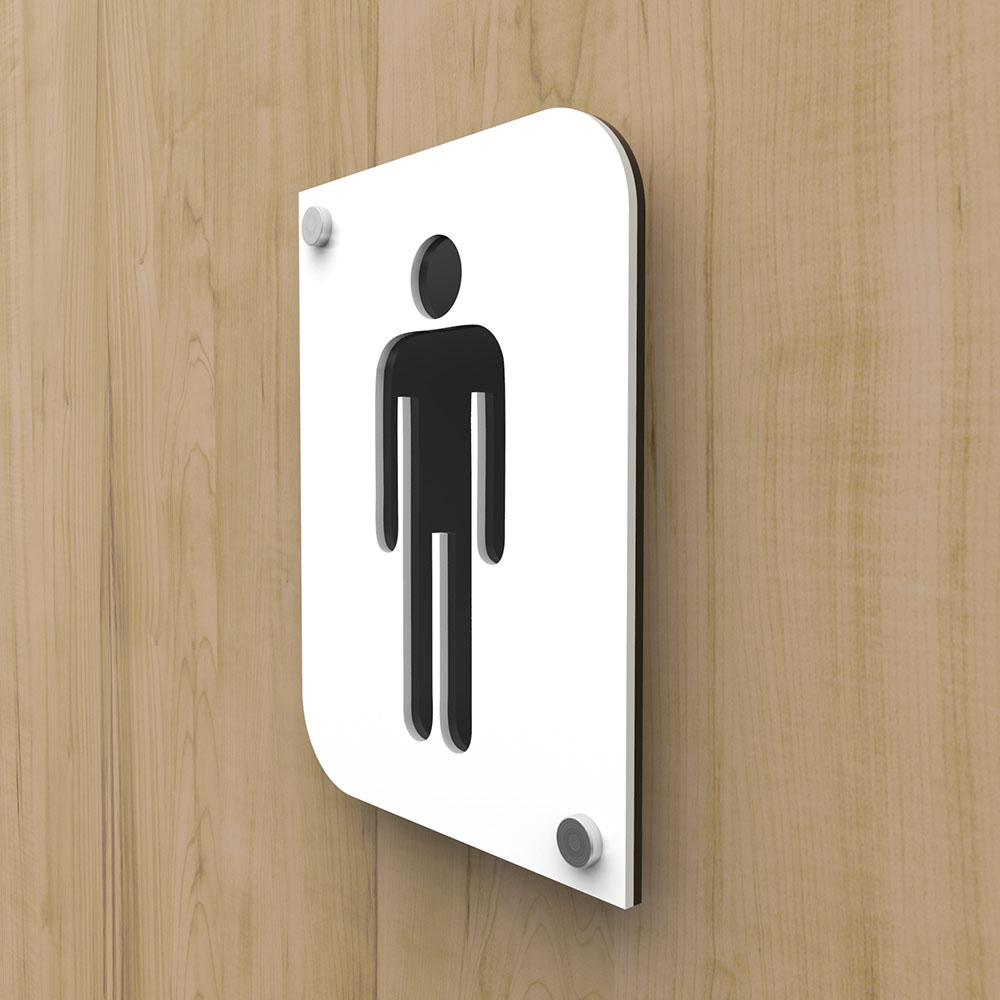 Pictogramme plexi toilettes hommes couleur blanc - Signalétique plaque de porte toilettes homme