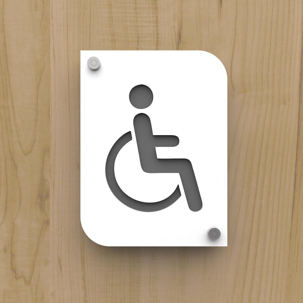 Pictogramme plexi toilettes handicapés PMR couleur blanc - Signalétique plaque de porte toilettes PMR