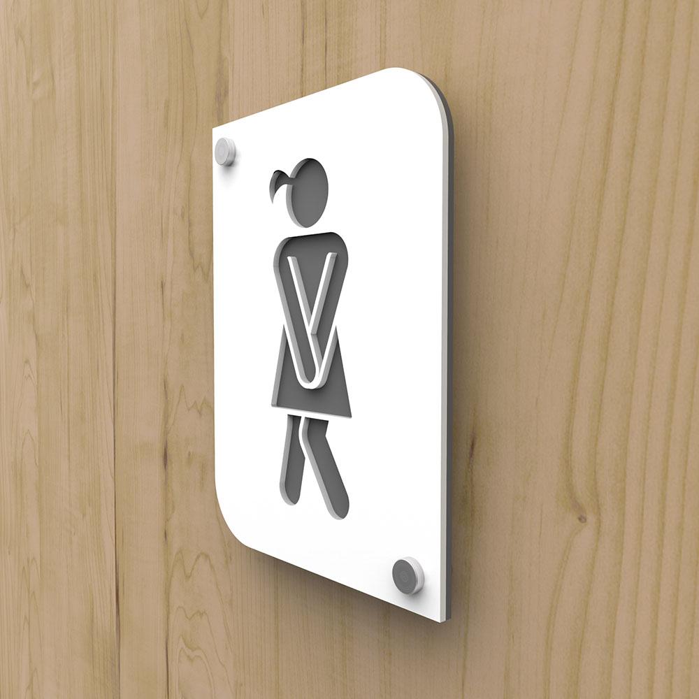 Plaque de porte design en plexi toilettes femmes couleur blanc personnalisable - Pictogramme toilettes WC femmes