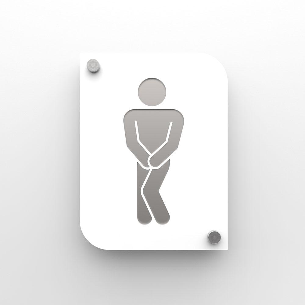 Plaque de porte design en plexi toilettes hommes couleur blanc personnalisable - Pictogramme toilettes WC hommes
