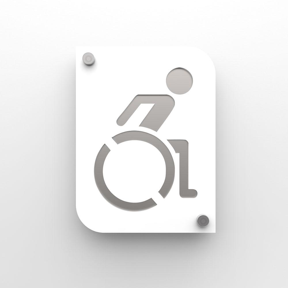 Plaque de porte design toilettes handicapés PMR couleur blanc à personnaliser - Pictogramme WC handicapés PMR