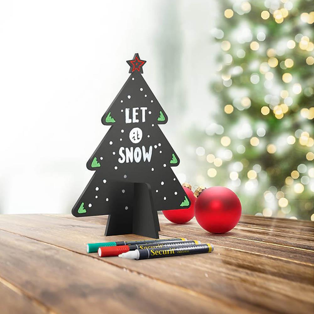 Ardoise de table silhouette 3D noire modèle Sapin de Noël + 3 feutres-craie - Décoration Noël ardoise restaurant