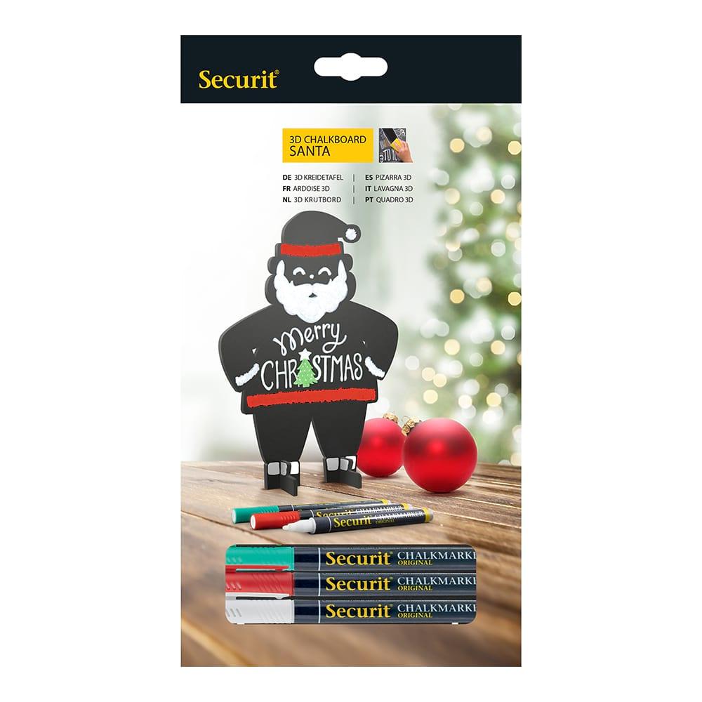 Ardoise silhouette 3D noire modèle Santa + 3 feutres-craie - Décoration Noël ardoise restaurant