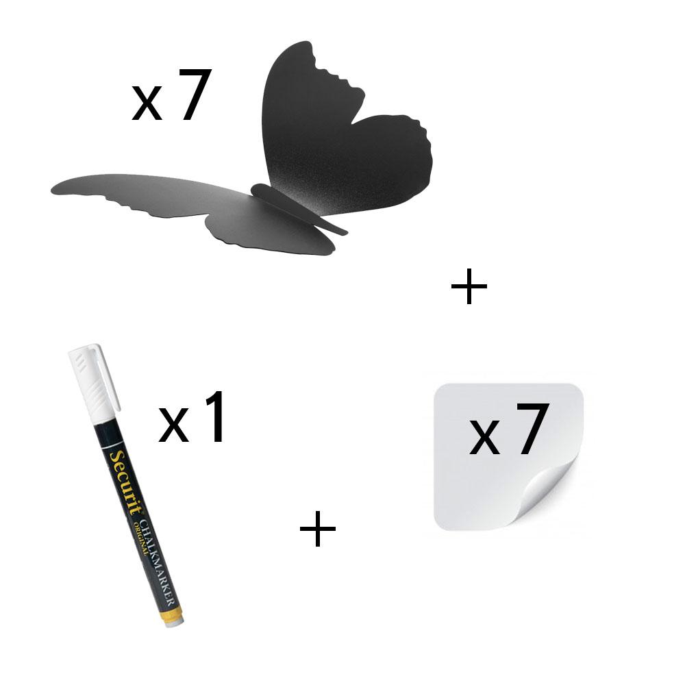 7 ardoises murales silhouette 3D noire modèle Papillon + 1 feutre-craie - Décoration murale ardoise décorative