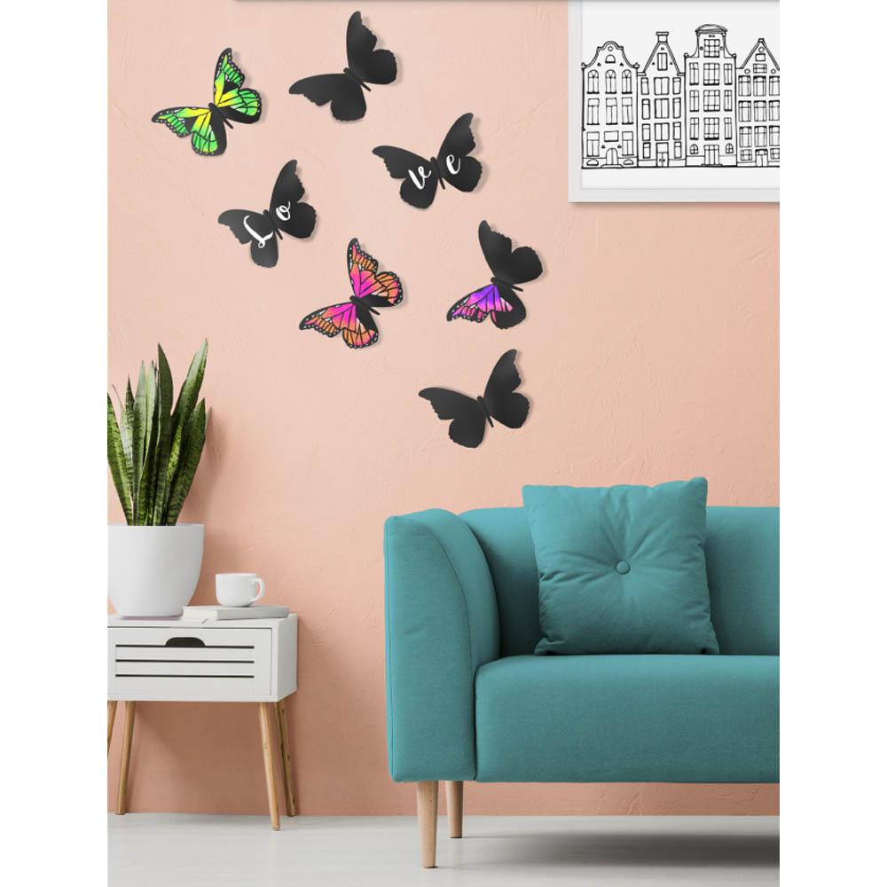 Ardoise murale silhouette 3D noire modèle Papillon + 1 feutre-craie - Décoration murale ardoise décorative