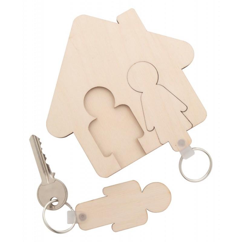 Porte clés fixation murale couple personnalisé avec vos prénoms - Accroche clé mural en bois gravure laser
