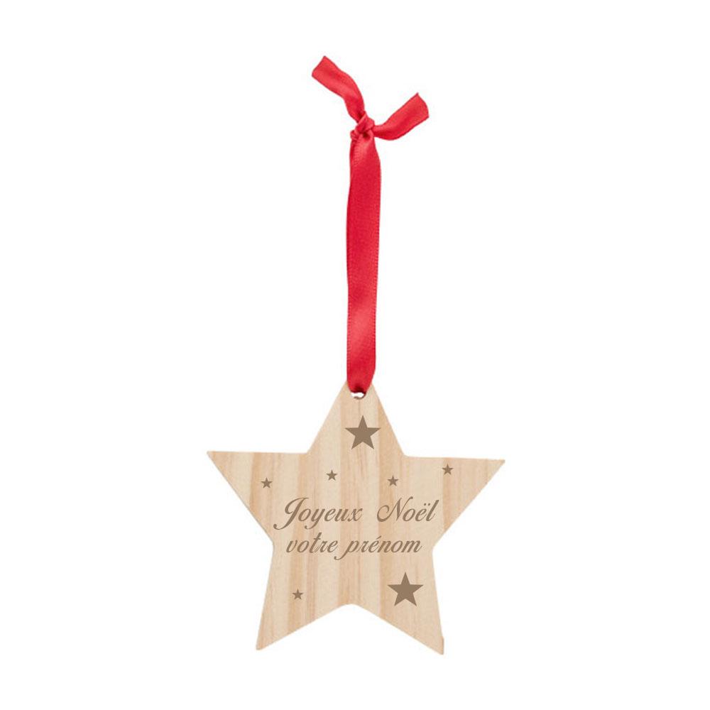 Décoration pour sapin de Noël forme étoile - Etoile en bois personnalisable avec un prénom - Cadeau Noël personnalisé gravure