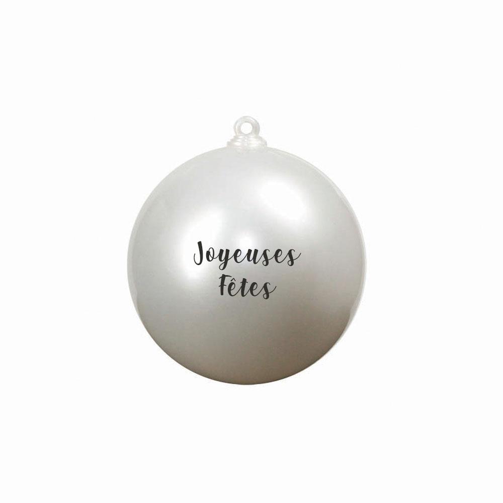 Boule de Noël personnalisable 2 faces modèle Joyeuses Fêtes - Boule de Noël surprise - Diamètre 10 cm