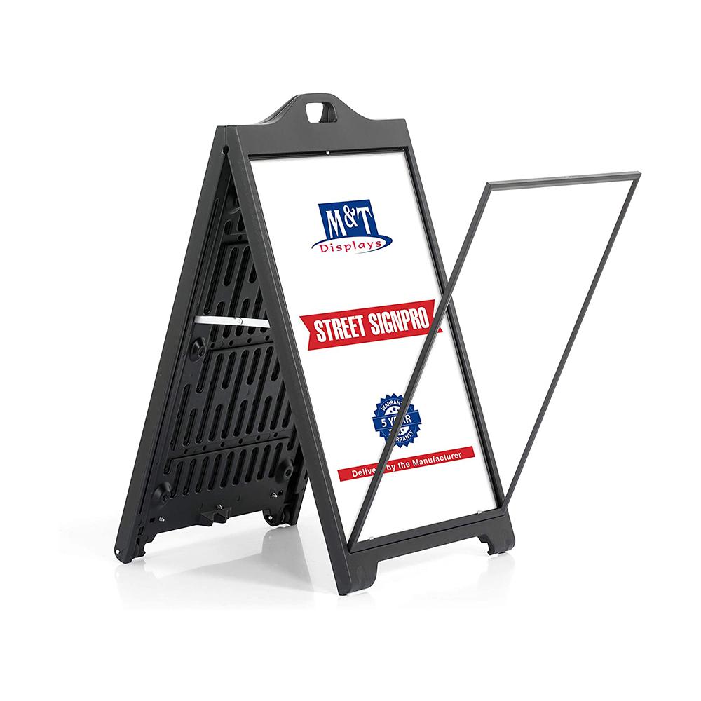 Stop trottoir noir SignPro - Porte affiche extérieur sur roulettes
