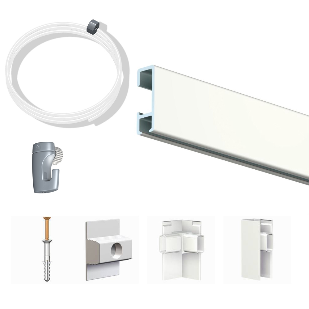 Pack Eco 40 mètres de cimaise Click Rail couleur Blanc laqué (RAL9010) - Solution suspension cadres et tableaux