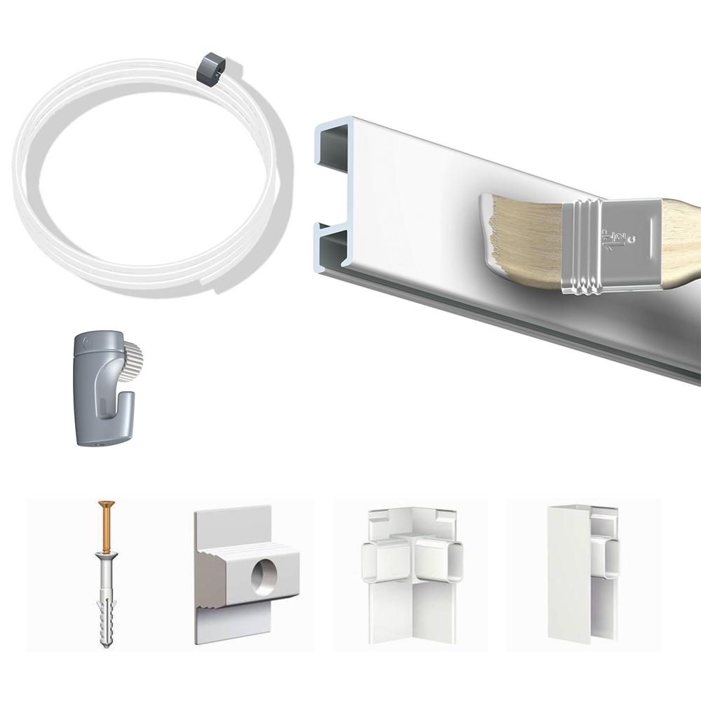 Pack Eco 10 mètres de cimaise Click Rail couleur Blanc (peut être peint) - Solution suspension cadres et tableaux
