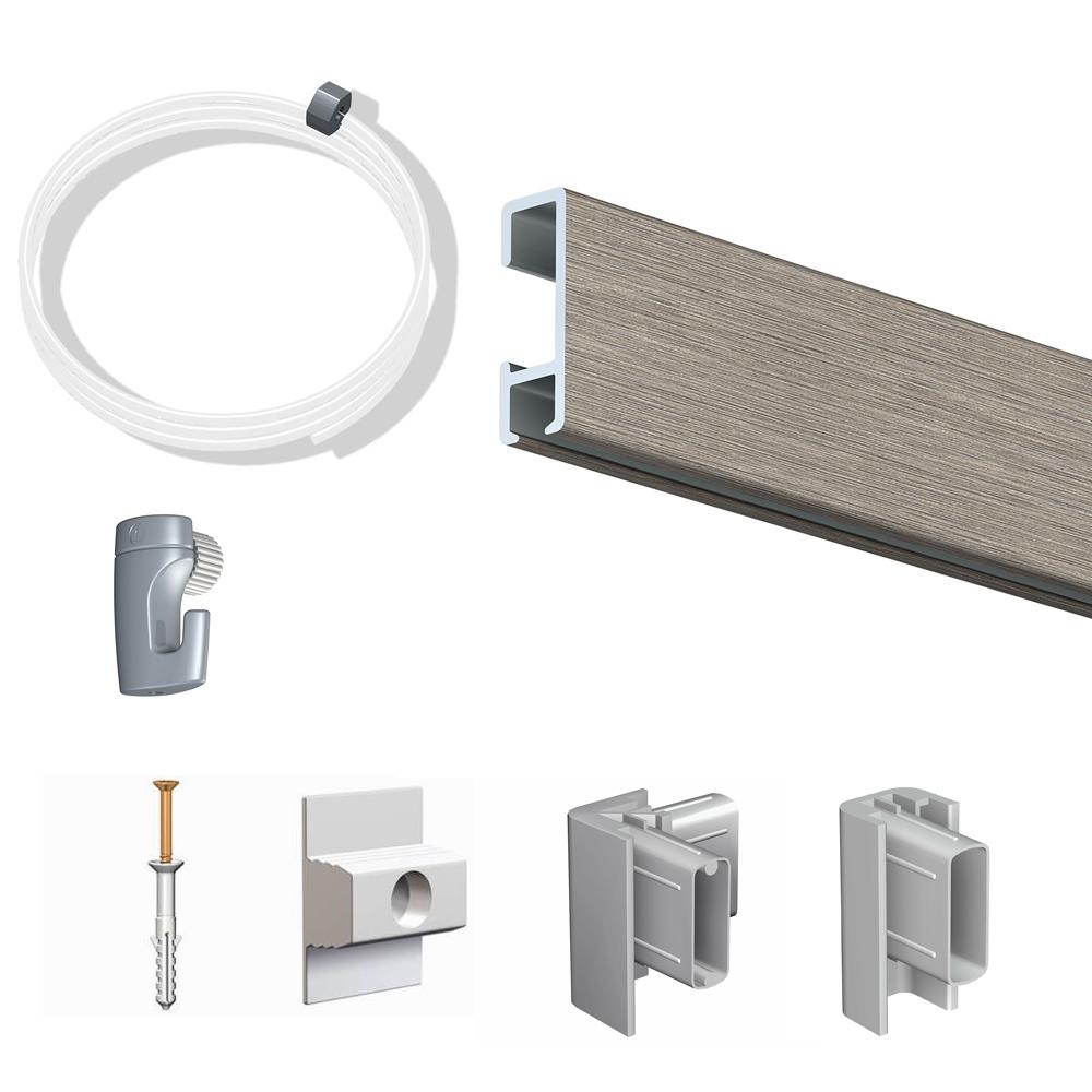 Pack Eco 2 mètres de cimaise Click Rail couleur Aluminium - Solution suspension cadres et tableaux