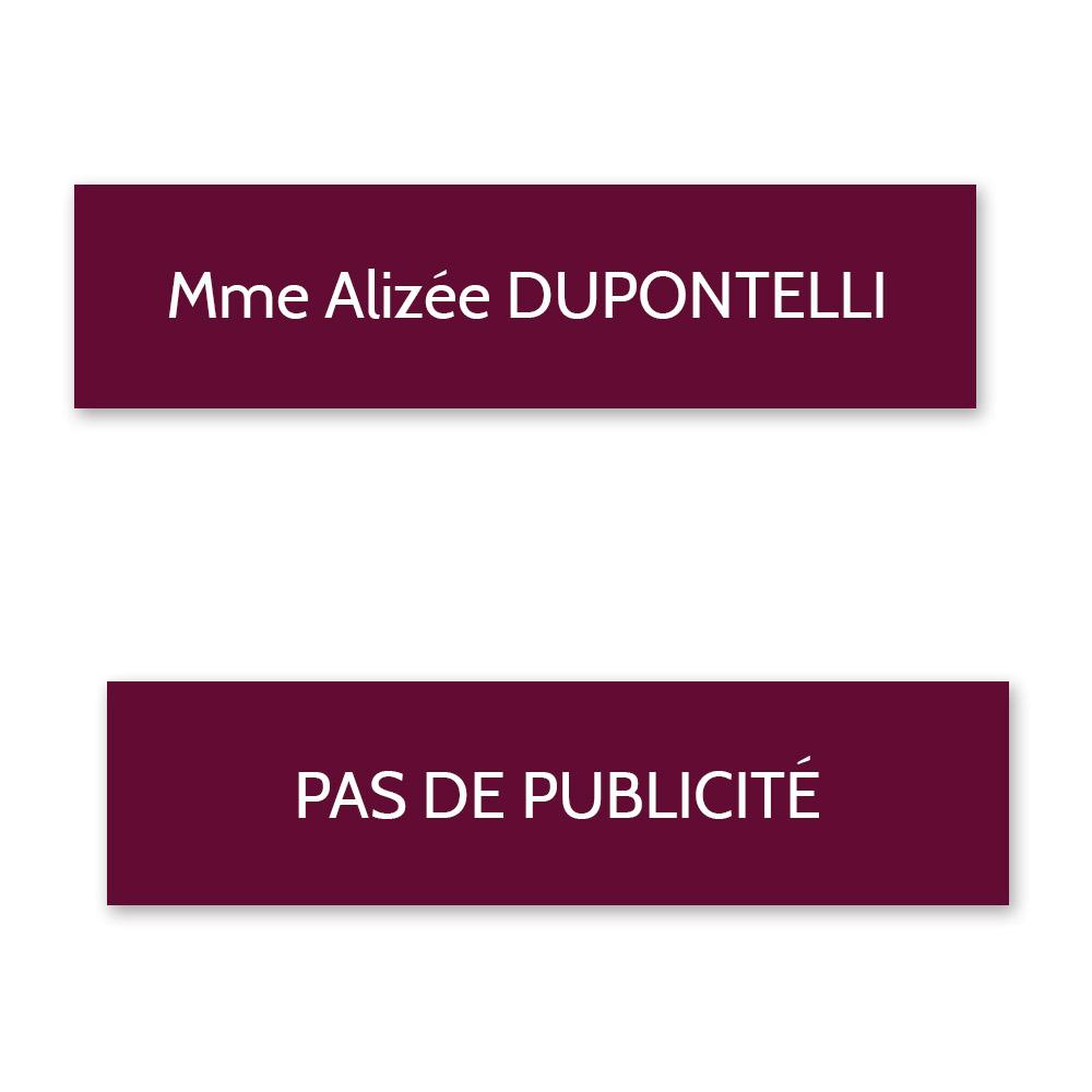 Plaque nom + STOP PUB pour boite aux lettres format Decayeux (100x25mm) bordeaux lettres blanches - 1 ligne