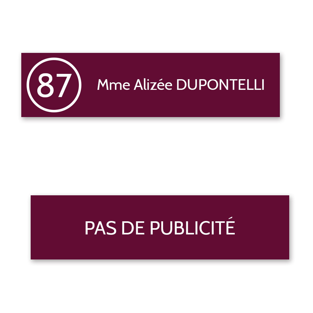 Plaque nom numéro + Plaque STOP PUB pour boite aux lettres format Decayeux bordeaux lettres blanches - 1 ligne