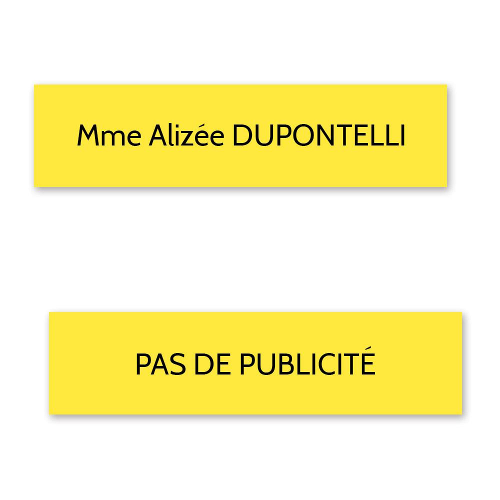 Plaque nom + STOP PUB pour boite aux lettres format Decayeux (100x25mm) jaune lettres noires - 1 ligne