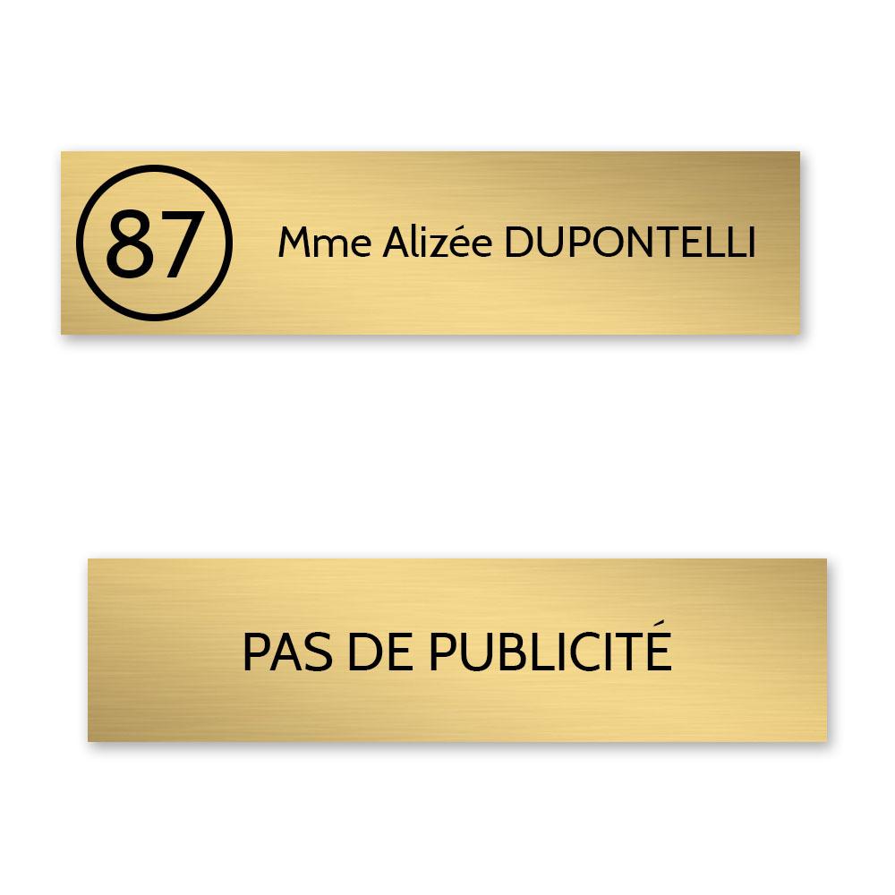 Plaque nom et numéro + Plaque STOP PUB pour boite aux lettres format Decayeux or brossé lettres noires - 1 ligne