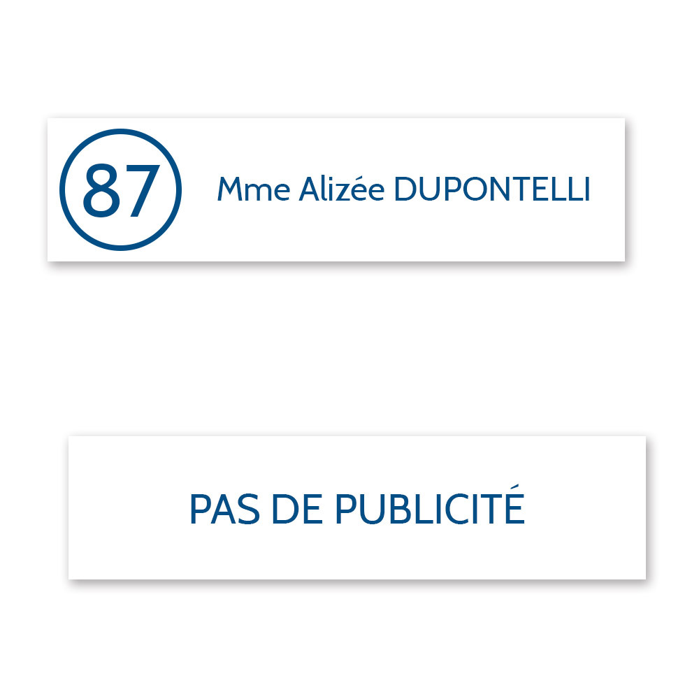 Plaque nom et numéro + Plaque STOP PUB pour boite aux lettres format Decayeux (100x25mm) blanche lettres bleues - 1 ligne