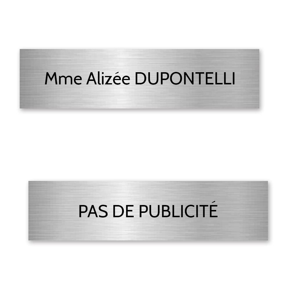 Plaque nom + STOP PUB pour boite aux lettres format Decayeux (100x25mm) gris argent lettres noires - 1 ligne
